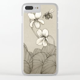 Wild Violets and Honey Bee Clear iPhone Case