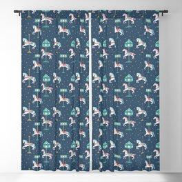Carousel Horses in Blue Blackout Curtain