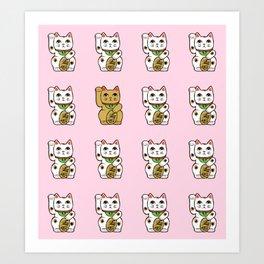 Maneki neko (pink background) Art Print