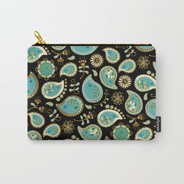 Hedgehog Paisley_Teal BgBlack Carry-All Pouch