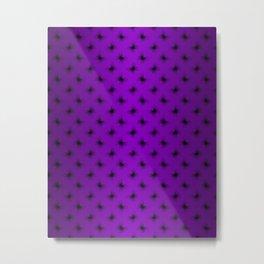 Black on Purple Butterfly Lace Pattern Metal Print