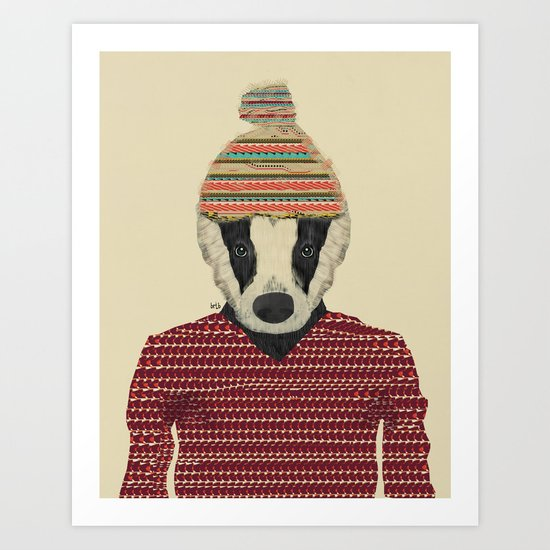 seb the badger  Art Print