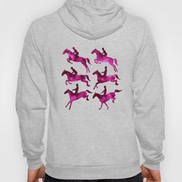 Watercolor Showjumping Horses (Magenta) Hoody