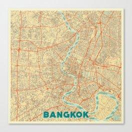 Bangkok Map Retro Canvas Print