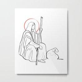 Jesus Christ Good Shepherd Metal Print