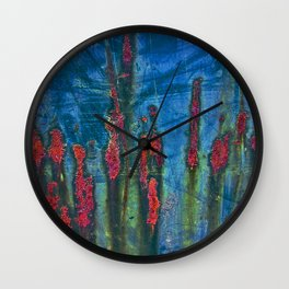 Red On Blue Wall Clock