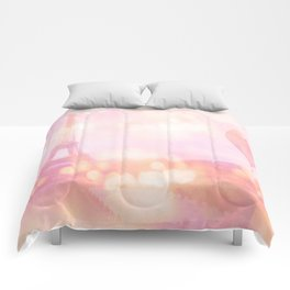 Shabby Chic Pink Eiffel Tower Hot Air Balloon Comforters