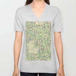 William Morris Forget Me Not Tawny Leaf Art Nouveau Unisex V-Neck