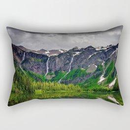 Avalanche Lake mountain lake hp mountain landscape rocks USA Montana Glacier National Park Rectangular Pillow