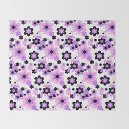 Pink Purple Black Floral Throw Blanket