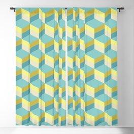 Lemony 3D cubes optical art pattern Blackout Curtain
