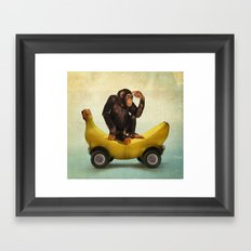 Chimp my Ride Framed Art Print