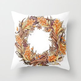 Sea Buckthorn Throw Pillow