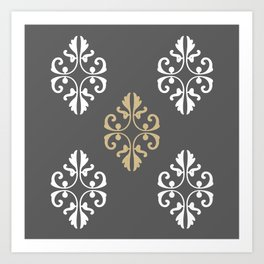 Traditional Gray and Gold Print Art Print