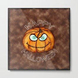 Happy Halloween Menacing Pumpkin Metal Print