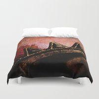 industrial Duvet Covers featuring Industrial Sunset by Bella Blue Photography
