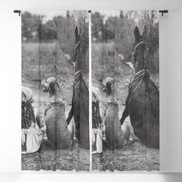 A Girl, Her Dog, and Her Horse wonderful black and white photograph - photography Blackout Curtain