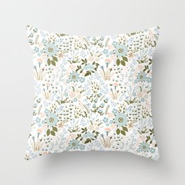 Star Sapphire Floral Celebration Teal Throw Pillow