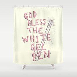 The White Gel Pen Shower Curtain
