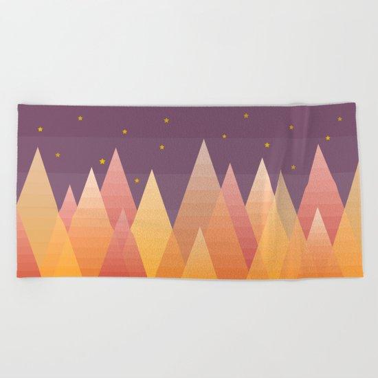 Geometric Lake Mountain III - Fall Beach Towel