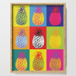 Modern Pop Art Pineapple Fruit on Colourful Squares Serving Tray