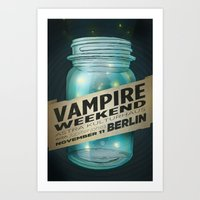 vampire weekend Art Prints featuring VAMPIRE WEEKEND by Marc Osborne Illustration