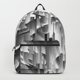 Flowers Exploding with Glitch in Black and White Backpack