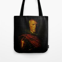 pablo picasso Tote Bags featuring King Picasso by Joe Ganech