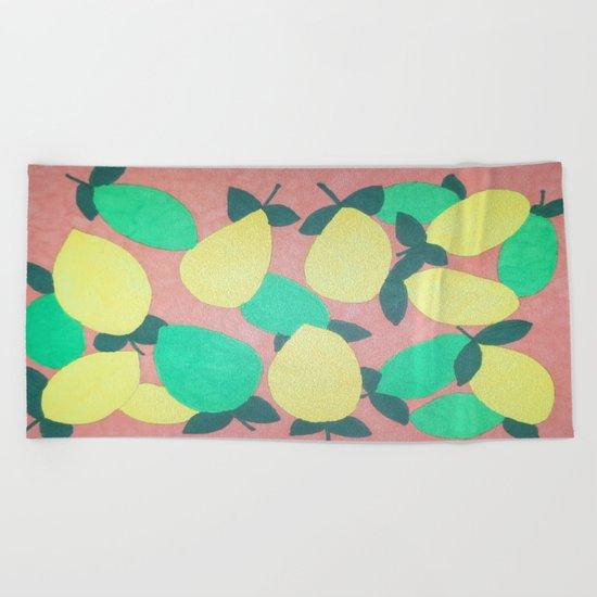 Lemony Fresh Citrus Pattern Beach Towel