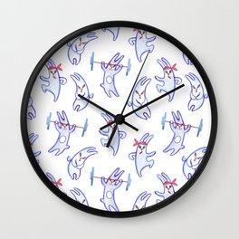 A sportу rabbit, watercolor pattern Wall Clock