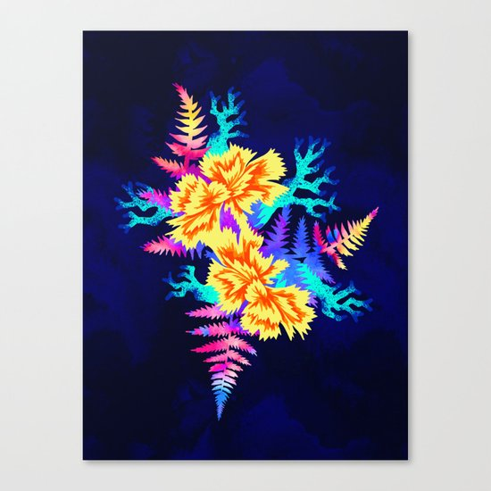 Coral Carnation - Yellow/Blue Canvas Print