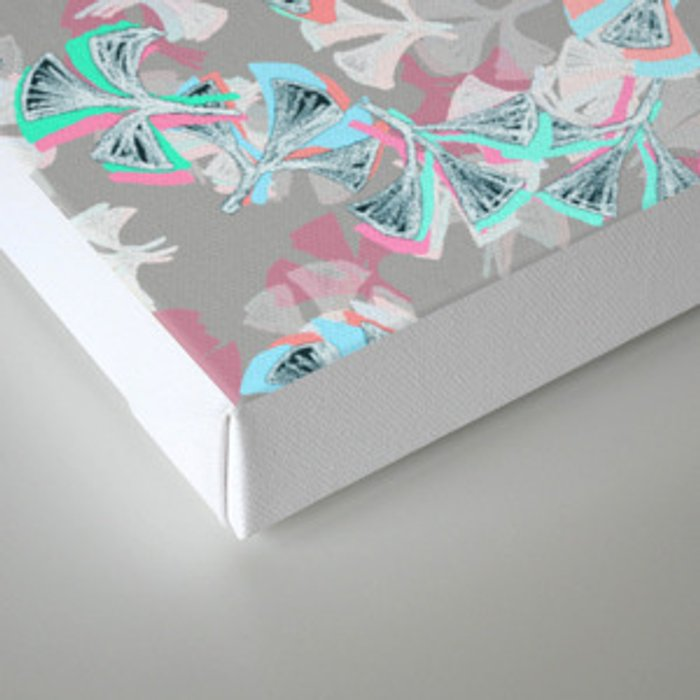 Flight - abstract in pink, grey, white & aqua Canvas Print