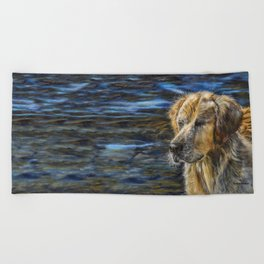 One Wet Golden Retriever by Teresa Thompson Beach Towel