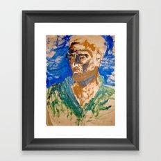 Man with blue background Framed Art Print