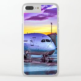 Plane Parked at Barajas Airport, Madrid, Spain Clear iPhone Case