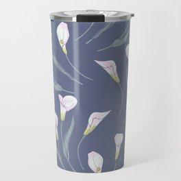 White Calla lilies on grey background Travel Mug