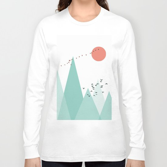 Geometric landscape - bird Long Sleeve T-shirt