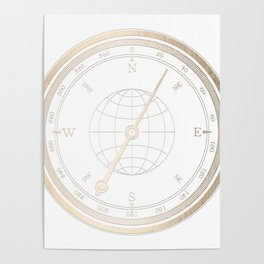Gold Compass on White Poster