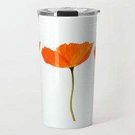 Three Orange Poppy Flowers White Background #decor #society6 #buyart Travel Mug