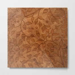 Brown Wood Carved Leafs Pattern Metal Print