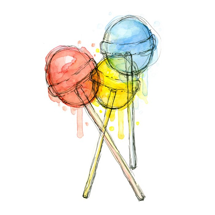 Lollipop Red Blue Yellow Candy Food Watercolor Comforters