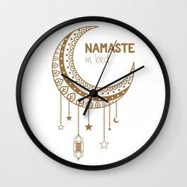 Namaste in Bed Mandala Moon Wall Clock