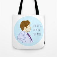 mulder Tote Bags featuring Fox Mulder  by sarah sawtelle