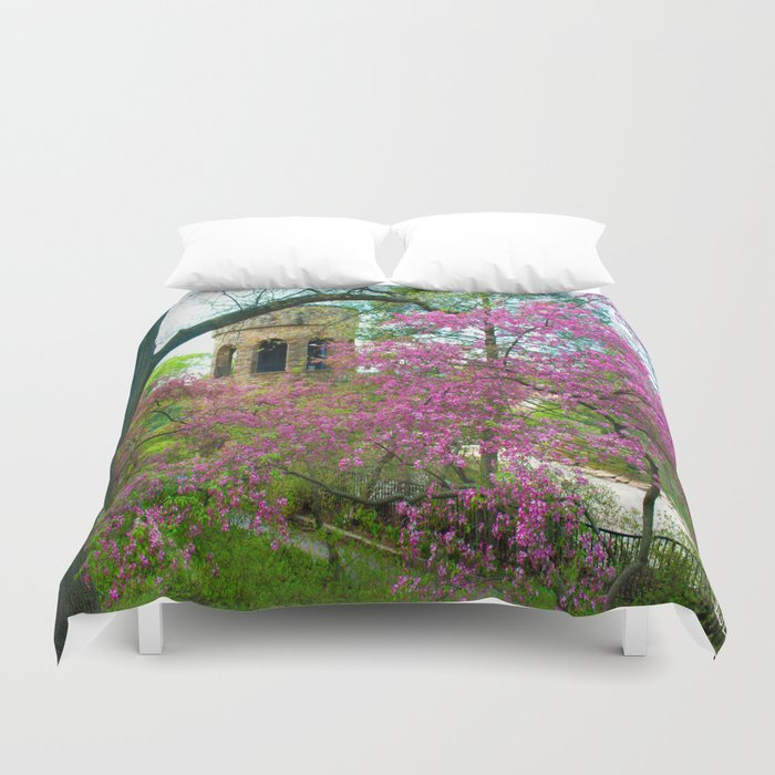 Bell Tower in Spring Duvet Cover