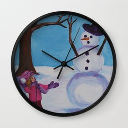 Snowman play 2 Wall Clock