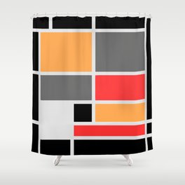 Mondrianista orange red black and gray Shower Curtain