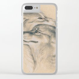 Wild Souls Snuggling Wolves Drawing Clear iPhone Case