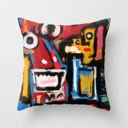 Art Brut Outsider Art Street Graffiti Throw Pillow