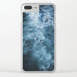 Stormy Waters, surfers enduring the elements Clear iPhone Case