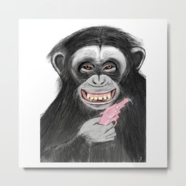monkey with watergun L Metal Print